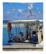 Fishing Boat Moored In The Harbor Of Katakolon Greece Fleece Blanket