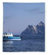 Fishing Boat Near Little Skellig, County Kerry, In Spring Sunshine, Ireland Fleece Blanket