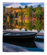 Fishing Boat On Mirror Lake Fleece Blanket