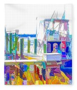Fishing Boats 2 Fleece Blanket
