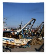 Fishing Boats Fleece Blanket