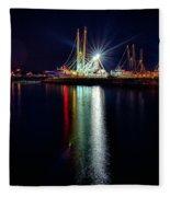 Fishing Boats In Marina At Night Fleece Blanket