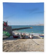 Fishing Boats In Sennen Cove Fleece Blanket