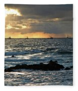 Fishing Boats Off Point Lobos Fleece Blanket