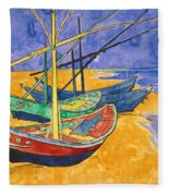 Fishing Boats On The Beach At Saintes Maries De La Mer Fleece Blanket