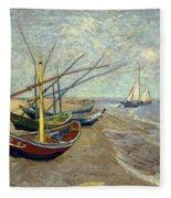 Fishing Boats On The Beach Fleece Blanket