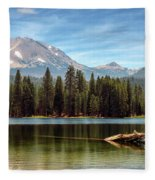 Fishing By Mount Lassen Fleece Blanket
