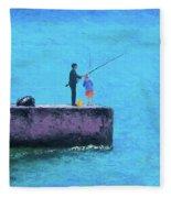 Fishing From The Pier Fleece Blanket