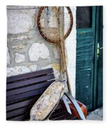 Fishing Gear In Primosten, Croatia Fleece Blanket