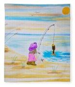 Fishing Girl Fleece Blanket