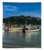 Fishing Harbour Fleece Blanket