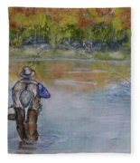 Fishing In Natures Beauty Fleece Blanket