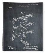 Fishing Lure Patent 1904 Chalk Fleece Blanket