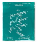 Fishing Lure Patent 1904 Green Fleece Blanket