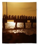 Fishing Off The Pier At Fort De Soto At Dusk Fleece Blanket