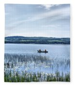 Fishing On Lake Carmi Fleece Blanket