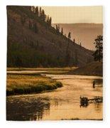 Fishing On Smokey Madison River Fleece Blanket