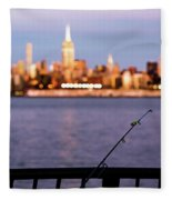 Fishing On The Hudson Fleece Blanket