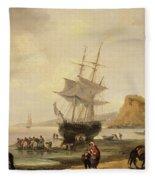 Fishing Scene, Teignmouth Beach And The Ness, 1831 Fleece Blanket