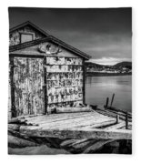 Fishing Shack And Wharf In Norris Point, Newfoundland Fleece Blanket