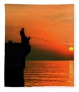 Morning Fishing 2 Fleece Blanket