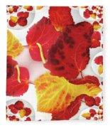 Five Autumn Leaves Fleece Blanket