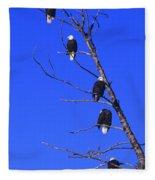 Five Bald Eagles Fleece Blanket