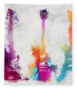 Five Colored Guitars Fleece Blanket