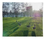Five Ducks Walking In Line At Sunset With London Museum In The B Fleece Blanket