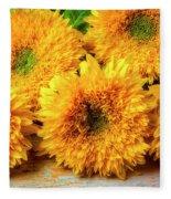 Five Exotic Sunflowers Fleece Blanket