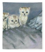 Five Kitties Fleece Blanket