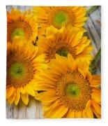 Five Moody Sunflowers Fleece Blanket