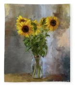 Five Sunflowers Centered Fleece Blanket