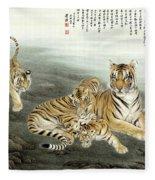 Five Tigers Fleece Blanket