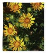 Five Yellow Flowers  Fleece Blanket
