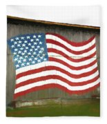 Flag And Barn - Painting Fleece Blanket