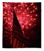 Flag And Fireworks Fleece Blanket