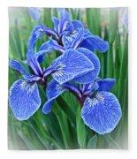 Flag Iris Blues Fleece Blanket