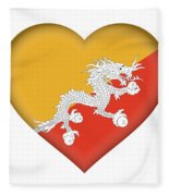 Flag Of Bhutan Heart Fleece Blanket