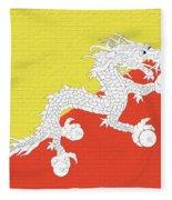 Flag Of Bhutan Wall Fleece Blanket