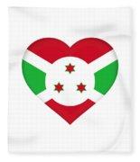 Flag Of Burundi Heart Fleece Blanket