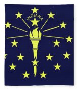 Flag Of Indiana Wall Fleece Blanket