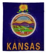 Flag Of Kansas Grunge Fleece Blanket