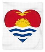 Flag Of Kiribati Heart Fleece Blanket