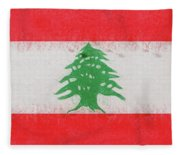 Flag Of Lebanon Grunge Fleece Blanket