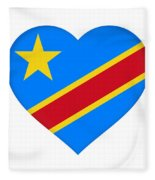 Flag Of The Congo Heart Fleece Blanket