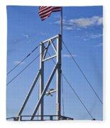 Flag On Perkins Cove Bridge - Maine Fleece Blanket