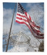 Flag Over Spokane Pavilion Fleece Blanket
