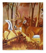 Flagging Deer Fleece Blanket