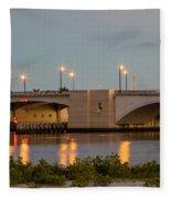 Flagler Bridge In Lights IIi Fleece Blanket